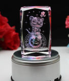 Cubo di cristallo di Galss con l'incisione chiara del laser dell'animale 3D del LED