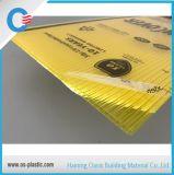 Double feuille Policarbonato Espesor 6mm de toiture de polycarbonate de jaune de mur