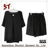 Senhora Casual moda T-shirt curta ajustado curtos Pants