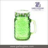 bottiglia di vetro della spremuta dei vasi di muratore di colore 500ml con la maniglia e la paglia