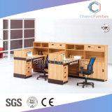 Stazione di lavoro personalizzata dell'ufficio delle 4 sedi con la L nera piano d'appoggio di figura (CAS-W31416)