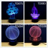 Venda a quente portátil de 7 cores 3D a ilusão da Lâmpada