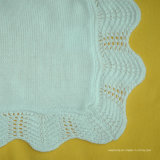 Couverture molle de bébé tricotée par coton 100% avec le bord de crochet