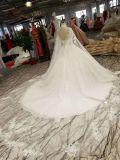 Vestido de esfera elevado branco do casamento do trem da corte do véu do ombro da garganta 2m