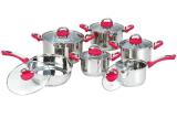 Fabricant 12PC poignée en silicone rouge Jeu de batterie de cuisine en acier inoxydable de qualité stable