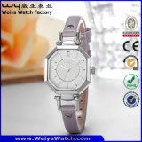 Relojes impermeables de las señoras del cuarzo de la correa de cuero del reloj de la manera (Wy-073E)