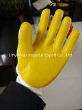 Le coton a tricoté les gants stratifiés de sûreté de latex avec du ce