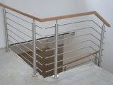 Деревянный верхний поручень с нержавеющей балюстрадой 304 штаног для балкона