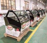 Ausgeglichener gebogener Glaseiscreme-Kühlraum-Kostenzähler-/Gelato Gefriermaschine-Schaukasten (QD-BB-16)