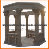 Gazebo del travertino del giardino con i banchi Mg1731