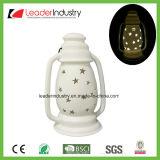 Nuevo diseño de Portavelas de cerámica blanca con el color del LED cambia para Ornamento de Navidad