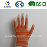 Померанцовая покрынная PU перчатка безопасности работы (SL-PU201O)