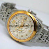 Luxo Self-Winding Sport Couro Mecânico Automático Mens Watch Gold