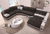 Sofá grande do couro da sala de visitas da forma do tamanho U (LZ-219)