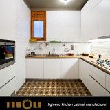 New Fingerpull Kitchen Design de alta qualidade liso branco aquecedor de cozinha armários Tivo-0065V