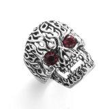 VAGULA 2 cores Zircon Vintage Silver Skull Finger Ring