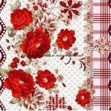 100%String de poliéster pigmento Roses&Dispersar tecido impresso para o conjunto de roupa de cama