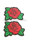 Rose stickte Blumen gestickte Änderung- am Objektprogrammstickereiapplique-Wärmeübertragung (TSE-stieg)