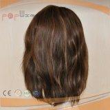 Máquina hecha de oro europea peluca de cabello marrón mezclado (PPG-L-01850)