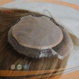 Pedazo superior de seda rubio del pelo del pelo humano del frente del cordón