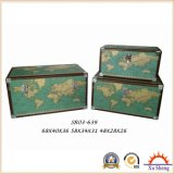 Wooden Decorative Vintage Beige Carte du monde Print Storage Trunk Set of 3
