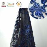 Dunkelblaues empfindliches Stickerei-Blumen-Muster-Spitze-Gewebe, neuester Entwurf und heißer Verkauf C10037