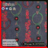 Impresión de la moda Denim de algodón 100% Tela Tela de jean de impresión
