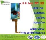 """5.0""""480X800, SG de l'écran TFT LCD Mipi9806e, 25pin pour l'POS, sonnette, médical"""