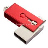 Mini USB Pendrive del telefono della parte girevole del USB del bastone impermeabile di memoria