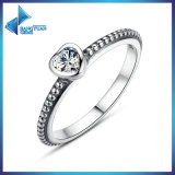 Atacado Heart Simple Design One Cubic Zirconia Ring