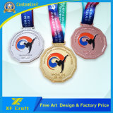卸売はリボン(XF-MD15)を与える高品質の金属のリオスポーツの金の円形浮彫りに