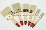 Cerdas brancas Escova de pintura com punho de madeira envernizada com Tip Red