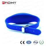 Wristband ajustável do silicone do azul RFID na forma do relógio