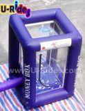 Vendita calda che gonfia la macchina di contanti gonfiabile del cubo della cabina dei soldi per l'evento della pubblicità