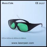 V. lasers 635nm vermelhos do L.T 37% + 905nm, óculos de proteção protetores de laser de vidros da segurança do laser dos diodos 980nm com frame preto 33