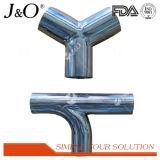 T 3-Way rosqueado sanitário do aço inoxidável