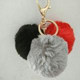プラシ天ののどのウサギの毛皮POM Pomsの球Keychain