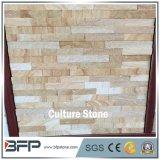 Piedra de piedra natural de la cultura de la repisa de la chapa de la vena amarilla para el revestimiento de la pared y la pared ofrecida