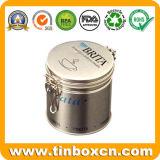 مستديرة قصدير قهوة علبة مع غطاء سدود, قهوة قصدير صندوق