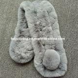 Señoras hermosas Real Rex de moda Bufanda de cuello de pieles de Conejo Conejo