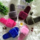 Высокое качество модных мягких поддельные Фокс мех слайд-тапочки фо мех Босоножки для женщин
