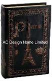 Diseño de la Torre Eiffel antiguo relieve Vintage de cuero de PU/almacenamiento de madera MDF cuadro Libro