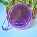 Sac en plastique personnalisé de cadeau de cercle de PVC de sac coloré de pièce de monnaie avec la fermeture de tirette