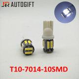 최고 밝은 LED 전구 W5w 7020 10LEDs 자동 번호판 빛