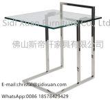 Verre trempé brillant en acier inoxydable en verre tempéré sur le dessus de la table côté fin pour le meuble de la chambre du canapé