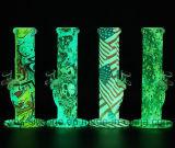 Premium 10'' el hábito de fumar pipa de agua en silicona con Graffiti y el resplandor en la oscuridad! Increíble!