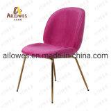 Sala de jantar de ouro de móveis de aço inoxidável Leg Coffee Shop Lazer Cadeira de tecido