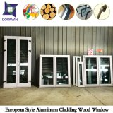 Fenêtre en acier inoxydable en bois de chêne pour Europe Villa, fenêtre inclinée en aluminium fini fini avec double vitre