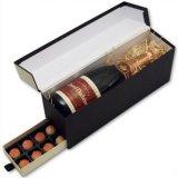 서랍 (WB-010)를 가진 고품질 검정 마분지 포도주 상자