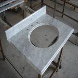 Parte superiore/bramma di marmo bianche di vanità della stanza da bagno di Carrara di prezzi poco costosi